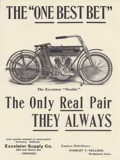 Excelsior Early Motorcycle Motor Picture Poster Advertisement Reprint Print   eBay