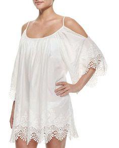 TA1M4 PilyQ Serena Embroidered-Trim Coverup Dress