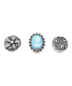 This Aqua Rhinestone Vintage Large Interchangeable Snap Charm Set is perfect! #zulilyfinds