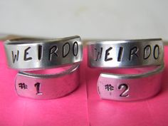 weirdo number 1 and weirdo number 2 set of two aluminum swirl rings for bbf rings
