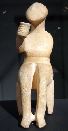 "Cycladic figurine, The ""cup bearer"".... What? The man is sitting down enjoying  some damn good beverage"