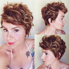 curly pixie hairstyle @mamamandolin Instagram Ummmmm.... If my ears could hide in short hair.... Ohhhh I want this but I'm scared lol