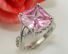Elegant .925 Sterling Silver Pink & Cubic Zirconia Ring Size 7 FREE SHIPPING #Band