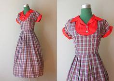 1940s Plaid Taffeta Party Dress