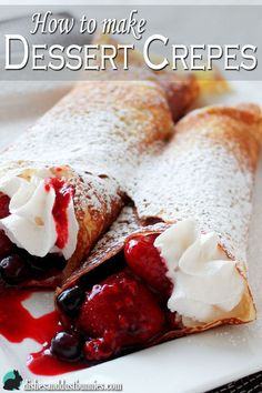 Crepes have always been a favorite in my family! There are so many ways to fill and dress dessert crepes it's no wonder why so many people enjoy them! In this post I share with you Dessert Crepes, Bon Dessert, Desserts To Make, Delicious Desserts, Yummy Food, Crepe Recipes, Brunch Recipes, Breakfast Recipes, Breakfast Sandwiches