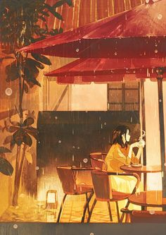 Art that showcases aspects of people's lives in realistic or fantastical settings -- Often seeking to glorify the mundane (though not limited to),. Art Anime, Anime Art Girl, Art And Illustration, Fantasy Kunst, Fantasy Art, Aesthetic Art, Aesthetic Anime, Cafe Art, Anime Scenery Wallpaper