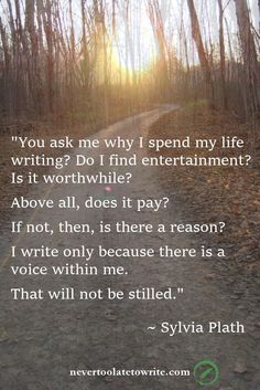 You ask me why I spend my life writing? Do I find entertainment? Is it worthwhile? Above all, does it pay? If not, then, is there a reason? I write only because there is a voice withing me. That will not be stilled. --Sylvia Plath