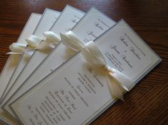 Wedding Ceremony Program – Custom Colors, Faux Gold Ink, Fonts, Text, Double Sided with Ribbon Bow – Foil Option – Bistro Collection SAMPLE Creative Wedding Programs, Wedding Ceremony Programs, Wedding Stationary, Wedding Invitations, Invites, Wedding Cards, Our Wedding, Wedding Ideas, Wedding Inspiration