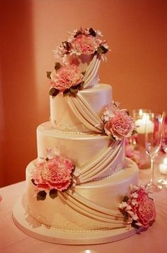 Romantic #pink wedding cake (Photo by Richard Wood Photographics)