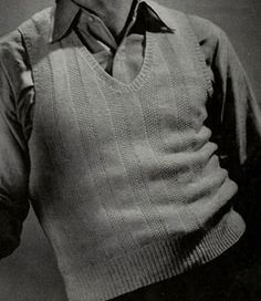 Sport Yarn Sleeveless Sweater knit pattern from Sweaters for Men & Boys, originally published by Jack Frost, Volume No. 40, from 1947.