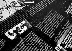 FADU.UBA Diseño 2. Desarrollo de insert informativo, cerrado tamaño A3. Nota sobre las catacumbas de Paris y su mundo subterráneo. Año 2005.