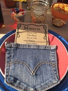 Western Theme - jean pocket - too cute! Invitation for dad's night (not a real jean pocket--made of paper. Cowboy Theme, Cowgirl Party, Western Theme, Pirate Party, Western Cowboy, Barn Parties, Western Parties, Western Party Decorations, Bbq Decorations
