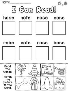 Long o centers and worksheets