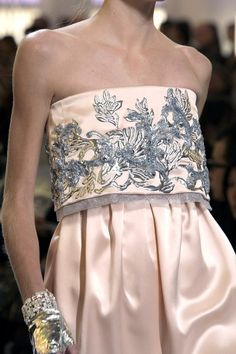 Blush Pink blue gray strapless satin dress The complete Chanel Spring 2010 Couture fashion show now on Vogue Runway.