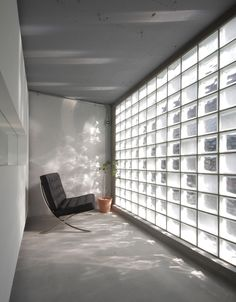 The interior of Jun Murata's Diamant Glass Art Gallery in Osaka, which has a facade of glass blocks.