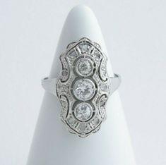 Art Deco Diamond Ring, Antique Diamond Shield Ring, Three Stone Diamond Ring #Antique #ThreeStone Three Stone Diamond Ring, Art Deco Diamond Rings, Art Deco Ring, Diamond Engagement Rings, Gold For Sale, Vintage Diamond, Colored Diamonds, White Gold, Emeralds