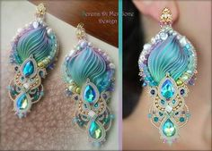 """REGINA"" Earrings - Designed by Serena Di Mercione - Beadembroidery and Soutache - Shibori silk, Swarovski and pearls. Bead Embroidery Patterns, Beaded Jewelry Patterns, Silk Ribbon Embroidery, Shibori, Ribbon Jewelry, Soutache Earrings, Handmade Accessories, Jewelry Trends, Jewelery"