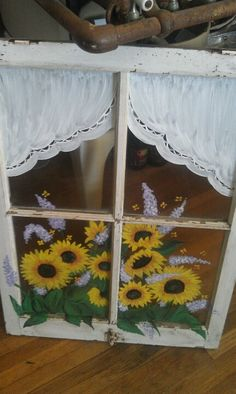 Do this lower front two windows. Old Window Art, Window Frame Art, Painted Window Panes, Old Windows Painted, Window Paint, Old Window Projects, Window Ideas, Painting On Glass Windows, Vintage Windows