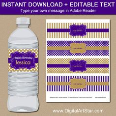 PRINTABLE Birthday Water Bottle Labels in Purple and Gold. Editable text makes it easy to use for any occasion such as or Prom Decor, Graduation Party Decor, Printable Water Bottle Labels, Brochure Paper, Halloween Birthday, Birthday Favors, Sticker Paper, Messages, Party Ideas