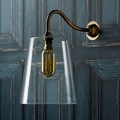 Our bedroom (with different lamp shades): hazel wall light in clear glass with swan neck wall light fitting in antiqued brass Lounge Lighting, Shop Lighting, Wall Sconce Lighting, Pendant Lighting, Bedroom Lighting, Lighting Design, Pooky Lighting, Wall Light Fittings, Glass Wall Lights