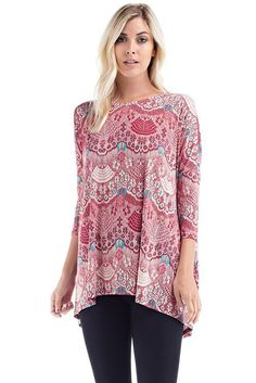 Red Cream Detail Long-sleeve Tunic Top