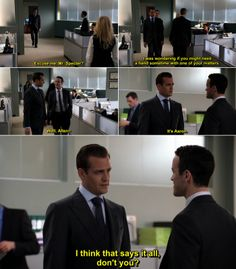 I was wondering if you might need a hand sometime with one of your matters. I think that says it all don't you? Harvey Specter Suits, Suits Harvey, Suits Tv Series, Suits Tv Shows, Suits Quotes, Tv Quotes, Movie Quotes, Best Tv Shows, Movies And Tv Shows
