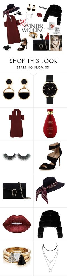"""""""Red Dress"""" by etoileboutique ❤ liked on Polyvore featuring Warehouse, CLUSE, Topshop, Carvela, Gucci, Lime Crime, Givenchy, Brixton and stylish"""