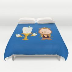 Buy ultra soft microfiber Duvet Covers featuring Baby Lumiere & Baby Cogsworth by happy patterns. Hand sewn and meticulously crafted, these lightweight Duvet Cover vividly feature your favorite designs with a soft white reverse side.