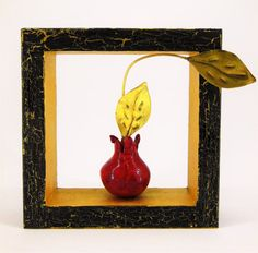 Minimal Red Pomegranate In Crackled Wood Frame by LifeTreeArt