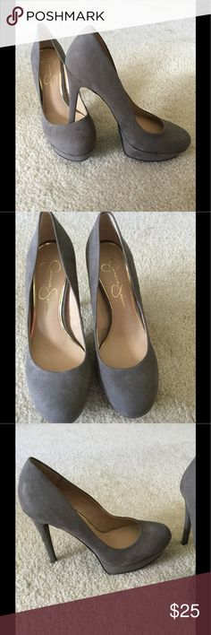 "Jessica Simpson Grey Suede Heels Size 8, run super small, fits 7 best, heel height 5"", small dirt spot on back on one heel Jessica Simpson Shoes Heels"