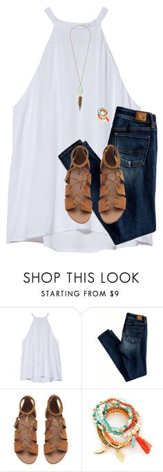 "I like this top and sandals ""Life is good "" by emmalw02 ❤ liked on Polyvore featuring A.L.C., American Eagle Outfitters, Red Camel and Kendra Scott"