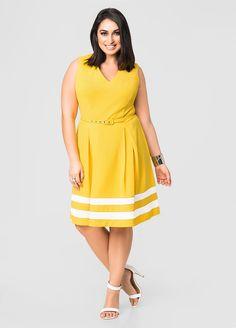 dccd031007e Stripe Hem Belted Skater Dress-Plus Size Dresses-Ashley