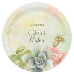 Succulent Watercolor Floral Wedding Paper Plates