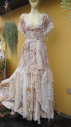 20 XMAS SALE vintage inspired shabby bohemian gypsy by wildskin Bohemian Gypsy, Gypsy Style, Hippie Style, Gypsy Dresses, Lace Dresses, Shower Dresses, Lace Outfit, Fairy Dress, Fantasy Dress