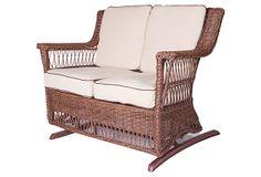 "Legacy Outdoor Double Glider, Brown, on OneKingsLane.com | 49""w x 31""d x 37""h x 20""seat ht | 3,000.00 retail | 1,299.00 OKL"