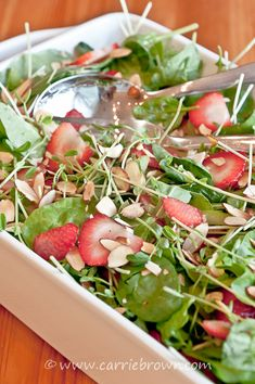 Strawberry Pea Shoot Salad So yummy with lots of flavors! -CB