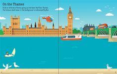 "Pages from ""First Sticker Book: London""  #new #children's #books #Usborne #Stickers #London #Thames #BigBen #England #Seeinside #illustration www.usborne.com"