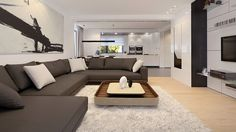 Kleo - zdjęcie 6 4 Bedroom House Designs, Construction, House Plans, Couch, Furniture, Home Decor, Gallery, Kitchen Cabinets, Modern Townhouse