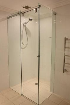 custom made frameless sliding shower screen by White Bathroom Co Sliding Shower Screens, Bathroom Store, Bathroom Showrooms, Bathroom Designs, White Bathroom, Organizing, Inspire, Inspiration, Ideas