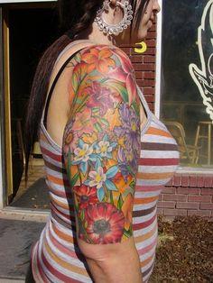 Vibrant flower sleeve by Sarah de Azevedo: poppies, columbine, daylily K Tattoo, Arm Tattoos, Flower Tattoos, Columbine Tattoo, Cool Tats, Awesome Tattoos, Poppies Tattoo, Flower Sleeve, Day Lilies