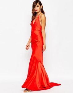 ASOS | ASOS RED CARPET Deep Plunge Soft Fishtail Maxi Dress