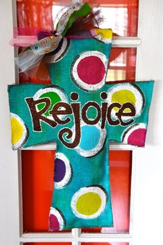 REJOICE ~ Turquoise Burlap Cross Door Hanger