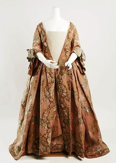 Pleeeze mom, I want this robe.  Dress (Robe à la Française)  Date: ca. 1760 Culture: French Medium: silk, metal thread Dimensions: Length: 60 in. (152.4 cm) Credit Line: Rogers Fund, 1932 Accession Number: 32.35.1a, b  This artwork is not on display