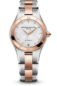 Discover the #Linea 10073 two-tone and automatic #watch, with interchangeable straps, designed by @BaumeetMercier, #SwissWatchMaker.