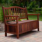 Belham Living Richmond 51 in. Curved-Back Outdoor Wood 30-Gallon Storage Bench