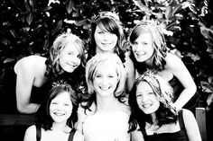 A Halo of Bridesmaids in the beautiful gardens of The Manor House Hotel, Moreton in Marsh