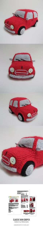 Classic Mini Cooper (inspired) Amigurumi Toy Car Amigurumi Pattern