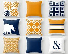 Throw Pillow Covers Navy Orange Pillow Couch Cushion Blue Orange Decor Home Decor Living Room Pillow Elephant Decor Geometric Pillow