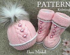 Baby Knitting PATTERN Knitted Baby Set Baby Beanie Baby Shoes Knitted Baby Hat Pattern Baby Booties Baby Boy Baby Girl Pattern ( PDF file )