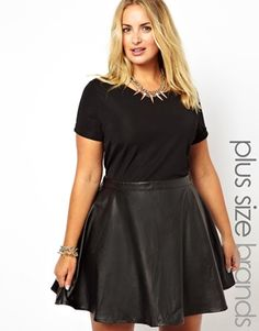 Image 1 of Alice & You Jersey Dress With Leather Look Skater Skirt